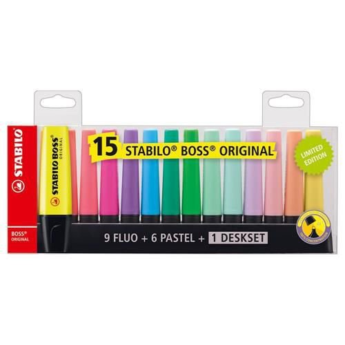 Caneta Marca Texto Stabilo Boss c/15 cores 9 Neon+6 Pastel+Deskset