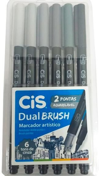 MARCADOR ARTÍSTICO DUAL BRUSH AQUARELÁVEL 6 TONS DE CINZA - CIS