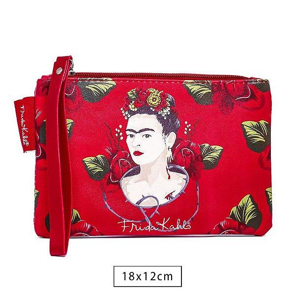 Carteira Frida Kahlo Face and Red Roses