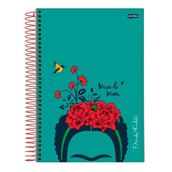 Caderno Espiral 1/4 Capa Dura 96 folhas  Jandaia Frida Kahlo Verde