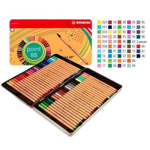 Estojo Caneta Stabilo Point 88 - Lata com 50 cores -