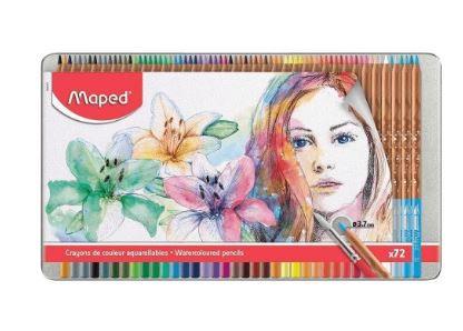 Lápis De Cor Artístico Aquarelável 72 Cores Estojo Metálico