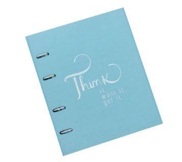 Caderno Fichário Cotton Azul 190 folhas Ótima