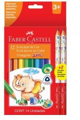 Lápis De Cor Faber Castell Ecolápis + 2 Lápis Grafite Jumbo 012 Cores