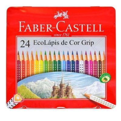 Lápis de Cor Triangular 24 Cores Color Grip com Estojo Faber Castell