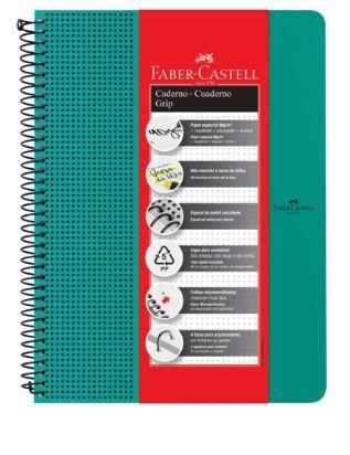 Caderno Grip 90 g/m² A-4+ Pautada Verde Água com 80 folhas Faber-Castell