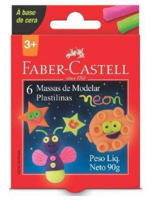 Massa de modelar Faber Castell 6 cores neon