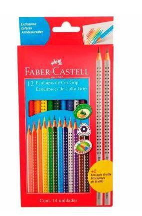 Lápis de Cor Colour Grip 12 Cores + 2 ecolápis Grafite , Faber-Castell