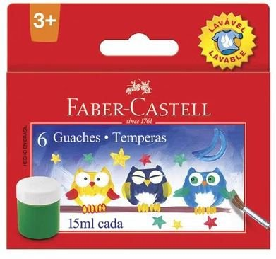 Tinta Guache - Lavável - 15Ml - 6 Cores - Faber-Castell