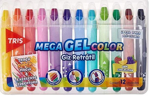 Giz Retratil Tris Mega Gel Color Metalico 12 Cores
