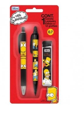 Blister Simpsons com 1 Caneta + 1 Lapiseira + 1 Caixa de Grafites