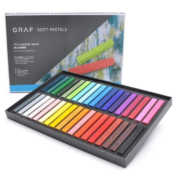 Giz Pastel Seco Graf Soft Pastels 36 Cores Diferentes Cis