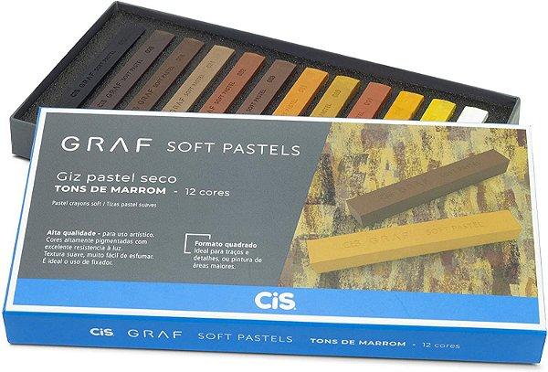 Giz Pastel Seco Graf Soft, CIS, Caixa c/12 cores com tons de marrom sortidas