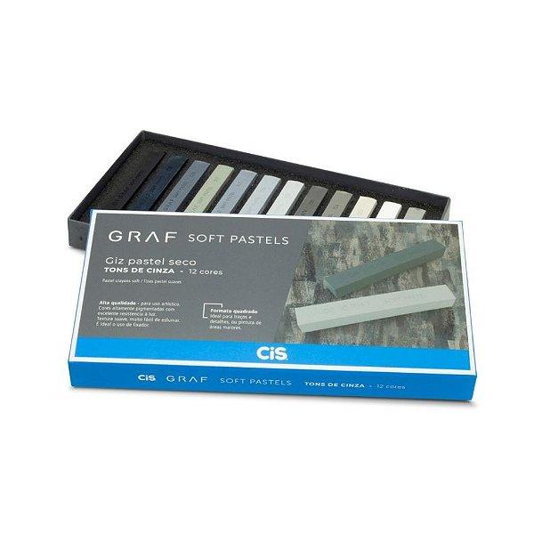 Giz Pastel Seco Graf Soft Pastels Tons De Cinza 12 Cores Cis