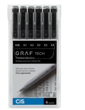 Caneta Técnica Graf Tech Feneliner Com 6 - Cis