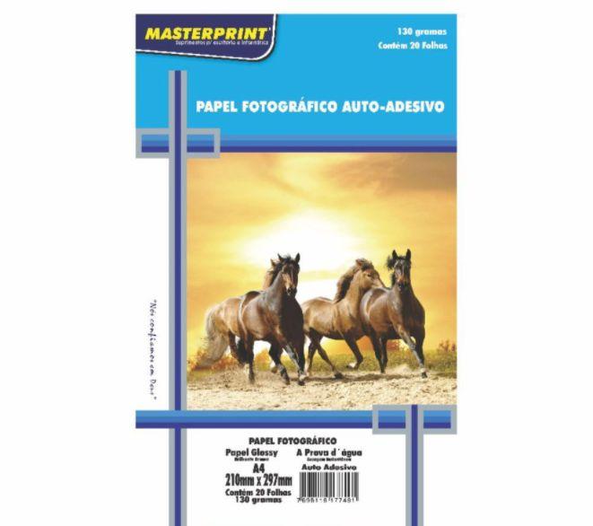 Papel Fotográfico Auto-adesivo A4 210mmx297mm 130g Embalagem Com 20 Folhas Masterprint