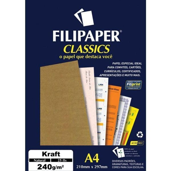 Papel Classics Kraft Natural A4 240g 25 folhas