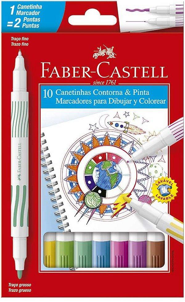Caneta Hidrografica C/10 Ponta Dupla-faber Castell