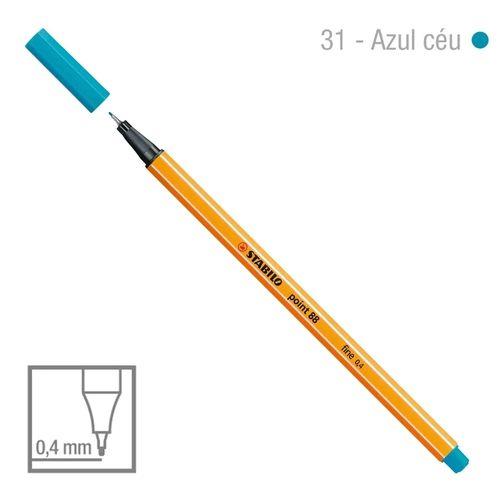Caneta Point 88/31 0,4mm Azul Ceu - Stabilo