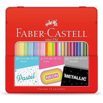 Ecolapis Cor C/24 Cores Pastel/neon/metalico-faber