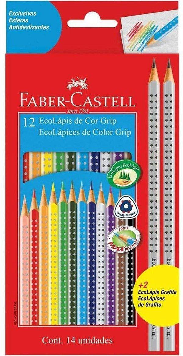 Ecolapis Cor C/12 + 2 Lapis Grip - Faber Castel