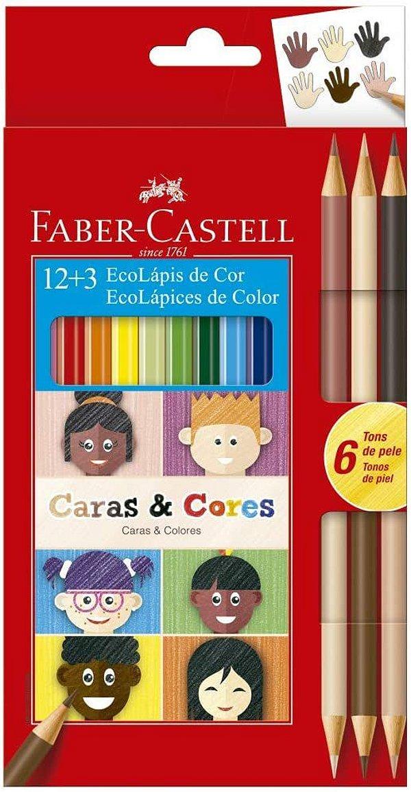 Ecolapis Cor C/12 + 3 Caras & Cores -faber Castell