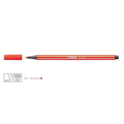 Caneta Point 68/40 1,0mm Vermelho - Stabilo