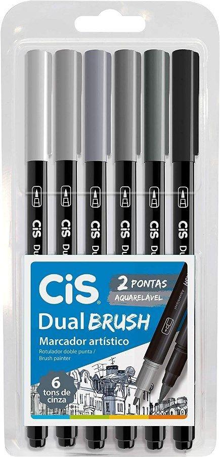 Estojo C/6 Marcador Dual Brush Tons Cinza - Cis