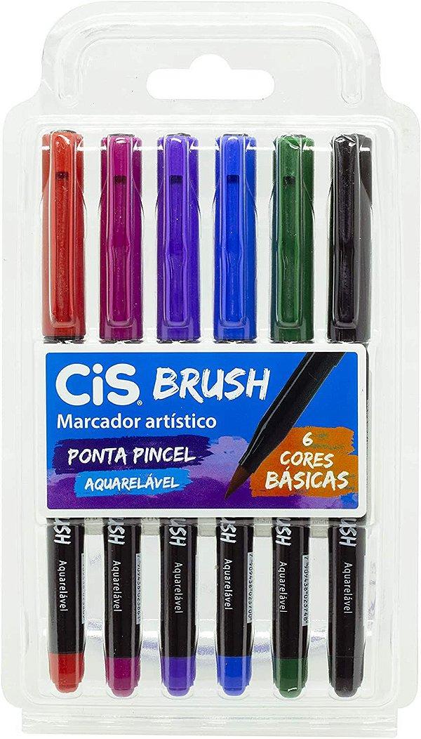 Estojo C/6 Marcador Brush Cores Basicas - Cis