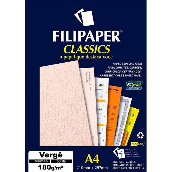 Papel Verge A4 180g 50f Salmao - Filipaper