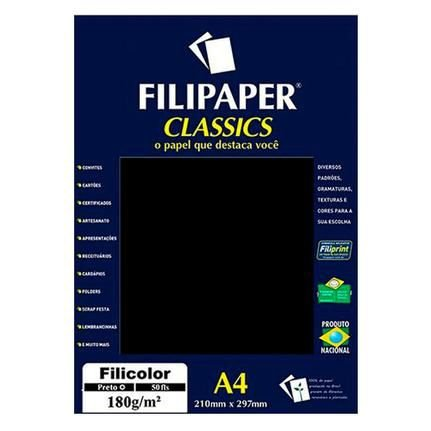 Papel A4 180g 50f Filicolor Preto - Filipaper