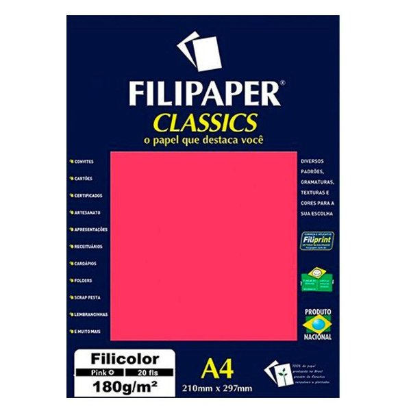 Papel A4 180g 50f Filicolor Pink - Filipaper