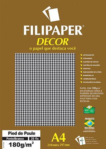Papel A4 180g Decor Pied Poule Pt/br 20fls -filipa