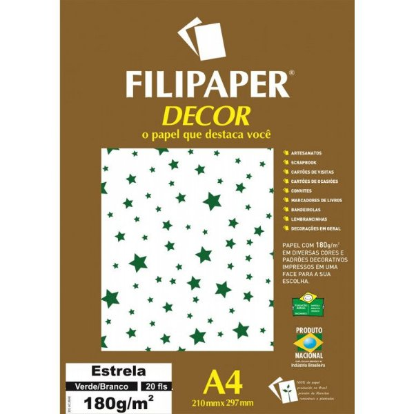 Papel Decor Estrela Bra/vd 20fls 180gr - Filipe