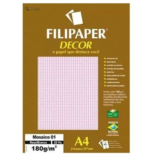 Papel A4 180g Decor Mosaico Rs/br 20fls -filipaper