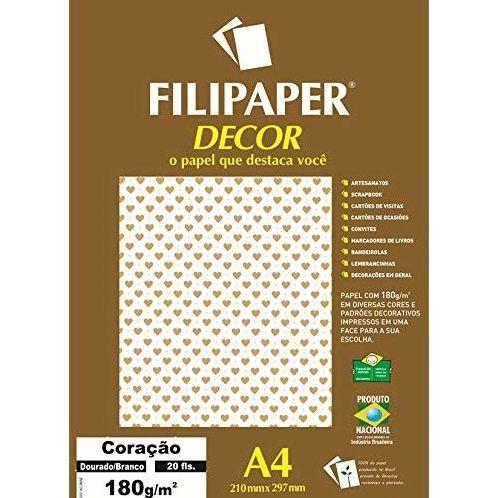 Papel Decor Coracao Bra/dou 20fls 180gr - Filipers