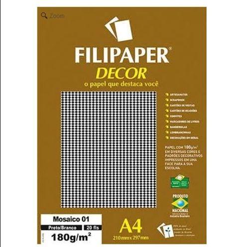 Papel A4 180g Decor Mosaico 01 Pt/br 20fls-filipap