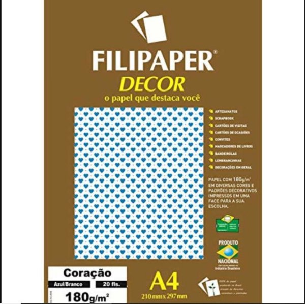 Papel Decor Coracao Bra/az 20fls 180gr - Filipers