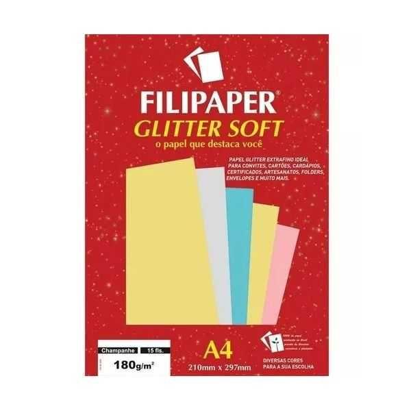 Papel A4 180g 15f Glitter Soft Champanhe-filipaper