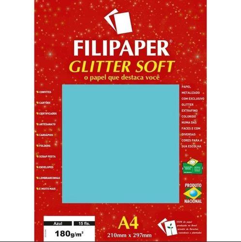 Papel A4 180g Glitter Soft Azul 15fls - Filipaper