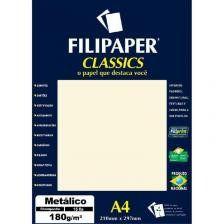 Papel A4 180g 15f Metalico Perola Bco - Filipaper