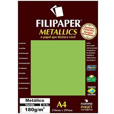 Papel A4 180g 15f Metalico Verde - Filipaper
