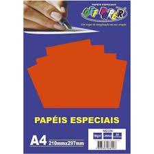 Papel A4 180g 20fls Neon Laranja - Off Paper