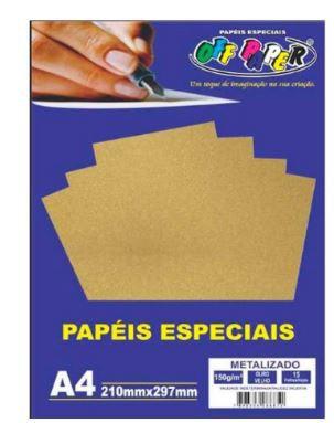 Papel A4 150g 15f Metalizado Ouro Velho-off Paper