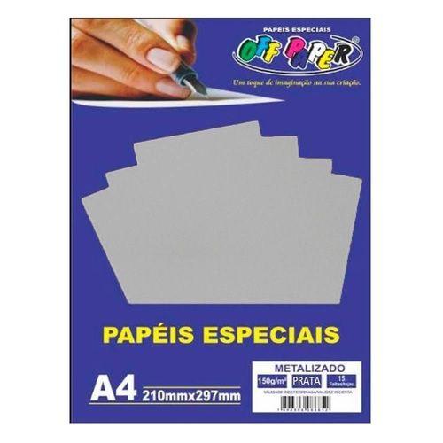 Papel A4 150g 15f Metalizado Prata - Off Paper