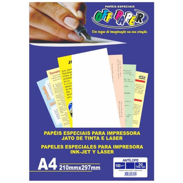 Papel Antilope A4 180g 50f Azul - Offpaper