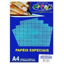 Papel A4 120g 10f Holografico Azul - Off Paper