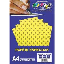 Papel A4 120g 10f Metalizado Poa Amarelo -offpaper
