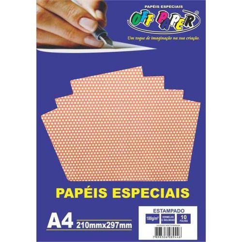 Papel A4 180g 10f Estampado Poa Vermelho -offpaper