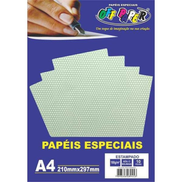 Papel A4 180g 10f Estampado Poa Azul - Offpaper